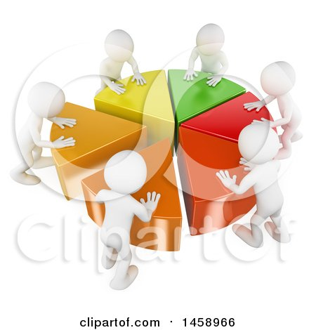 Clipart of a 3d Team of White Men Pushing Together a Pie Chart, on a White Background - Royalty Free Illustration by Texelart