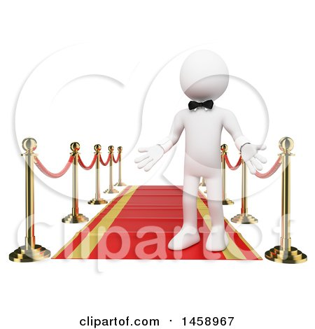 Clipart of a 3d White Man on a Red Carpet, on a White Background - Royalty Free Illustration by Texelart