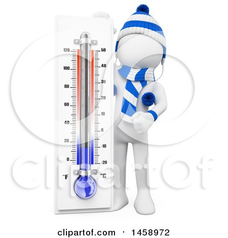 Clipart of a 3d White Man with a Winter Thermometer, on a White Background - Royalty Free Illustration by Texelart