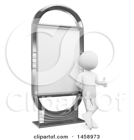Clipart of a 3d White Man Giving a Thumb up and Leaning on a Billboard, on a White Background - Royalty Free Illustration by Texelart
