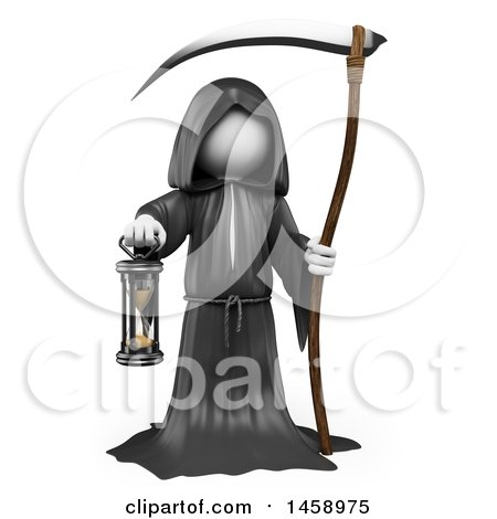 Clipart of a 3d White Man Grim Reaper, on a White Background - Royalty Free Illustration by Texelart