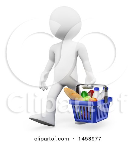 Clipart of a 3d White Man Carrying a Grocery Shopping Basket, on a White Background - Royalty Free Illustration by Texelart