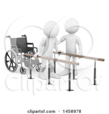 Clipart of a 3d White Man Doing Physical Therapy, on a White Background - Royalty Free Illustration by Texelart