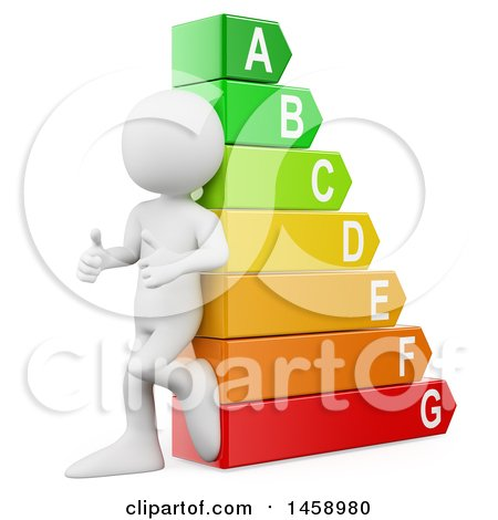Clipart of a 3d White Man Leaning Against an Energy Rating Chart, on a White Background - Royalty Free Illustration by Texelart