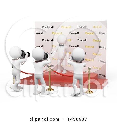 Clipart of a 3d White Man Celebrity Getting His Picture Taken, on a White Background - Royalty Free Illustration by Texelart
