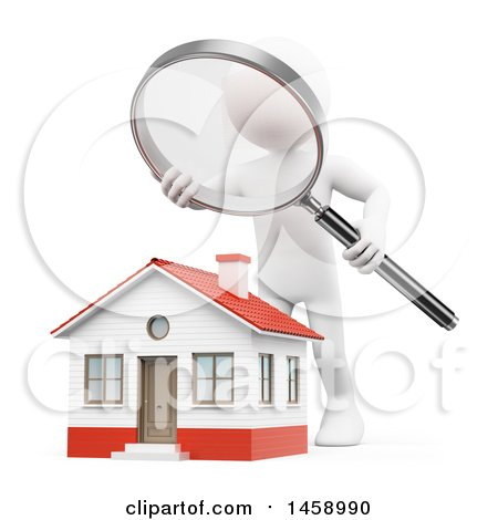 Clipart of a 3d White Man Home Inspector over a House, on a White Background - Royalty Free Illustration by Texelart