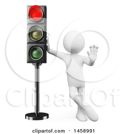 Clipart of a 3d White Man at a Red Stop Light, on a White Background - Royalty Free Illustration by Texelart