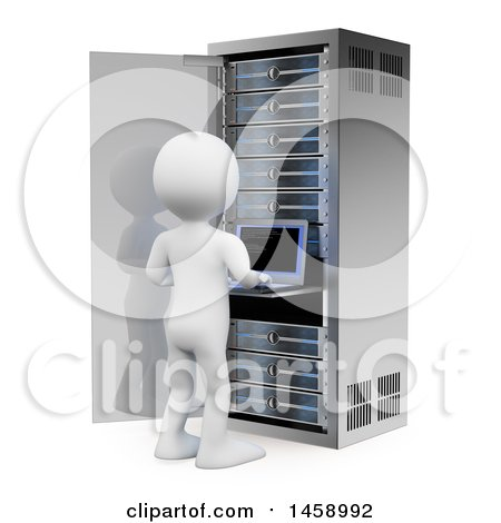 Clipart of a 3d White Man Working on a Server Tower, on a White Background - Royalty Free Illustration by Texelart