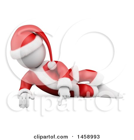 Clipart of a 3d White Man Santa Pointing Down, on a White Background - Royalty Free Illustration by Texelart
