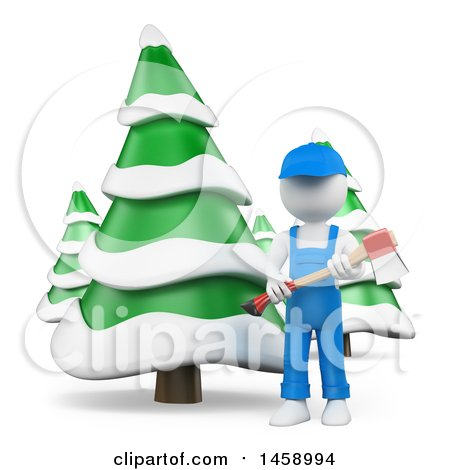 Clipart of a 3d White Man Lumberjack with Evergreen Trees, on a White Background - Royalty Free Illustration by Texelart