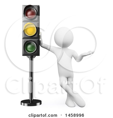 Clipart of a 3d White Man at a Yellow Light, on a White Background - Royalty Free Illustration by Texelart