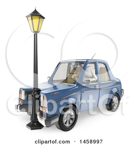 Clipart of a 3d White Man Driver After Crashing into a Lamp, on a White Background - Royalty Free Illustration by Texelart