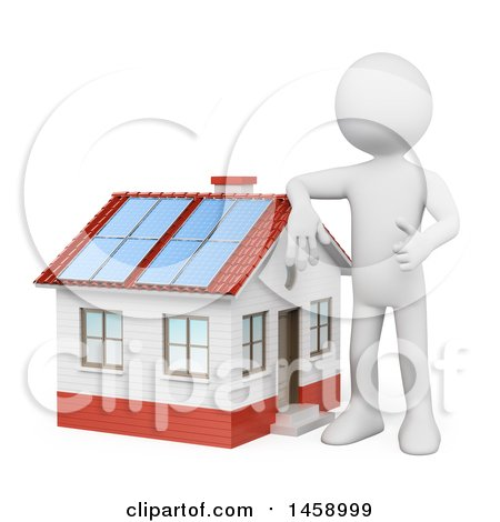 Clipart of a 3d White Man Leaning on a Home with a Solar Roof, on a White Background - Royalty Free Illustration by Texelart