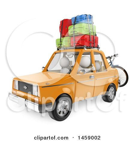 Clipart of a 3d White Family Going on Vacation in Their Car, on a White Background - Royalty Free Illustration by Texelart