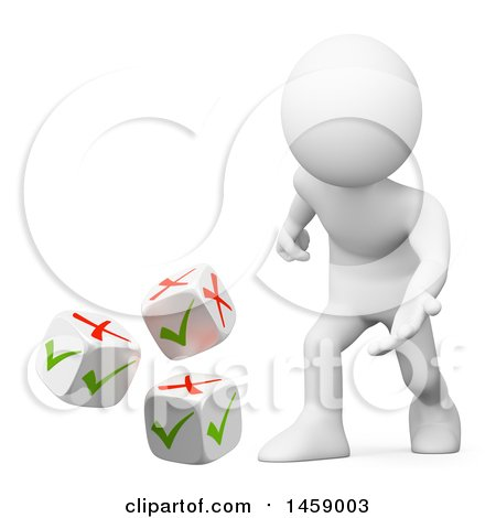 Clipart of a 3d White Man Rolling Check or X Mark Dice, on a White Background - Royalty Free Illustration by Texelart
