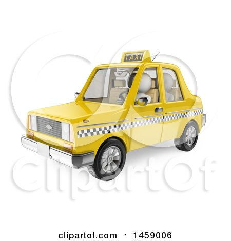 Clipart of a 3d White Man Riding in a Taxi, on a White Background - Royalty Free Illustration by Texelart