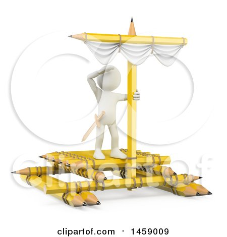 Clipart of a 3d White Man on a Pencil Raft, on a White Background - Royalty Free Illustration by Texelart