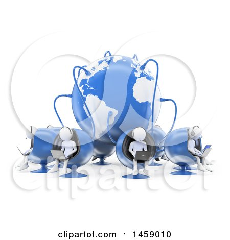 Clipart of a 3d Team of White Men Working in a Call Center Connected to a Globe, on a White Background - Royalty Free Illustration by Texelart