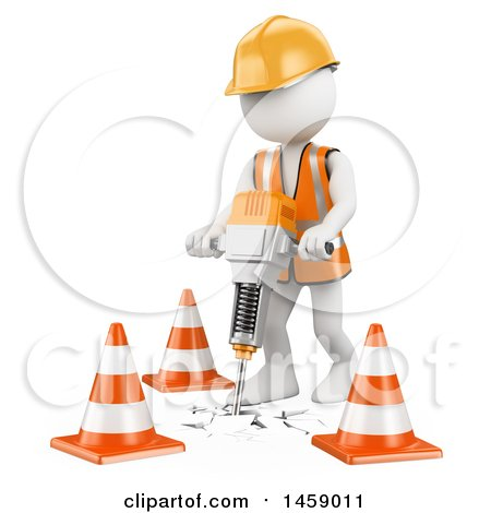 3d White Man Worker Using a Jackhammer, on a White Background Posters, Art Prints