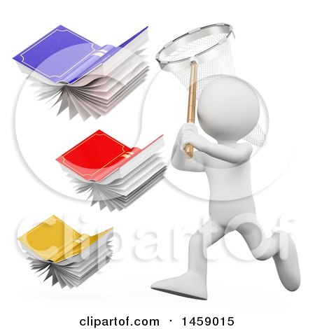 Clipart of a 3d White Man Chasing Flying Books with a Net, on a White Background - Royalty Free Illustration by Texelart