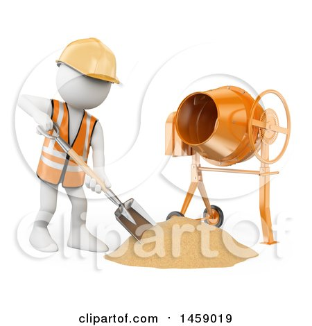 Clipart of a 3d White Man Worker Using a Concrete Mixer, on a White Background - Royalty Free Illustration by Texelart