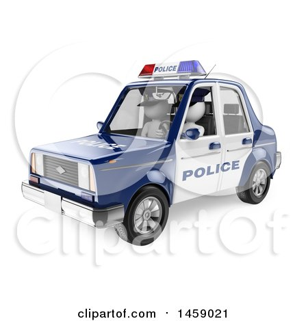 Clipart of a 3d White Man Driving a Police Car, on a White Background - Royalty Free Illustration by Texelart