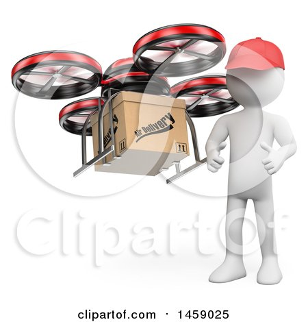 Clipart of a 3d White Man with a Delivery Drone, on a White Background - Royalty Free Illustration by Texelart