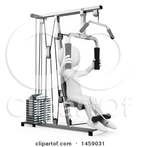 Clipart of a 3d White Man Working out on a Machine, on a White Background - Royalty Free Illustration by Texelart