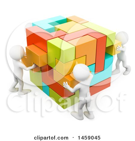 Clipart of a 3d Team of White Men Building a Cube, on a White Background - Royalty Free Illustration by Texelart
