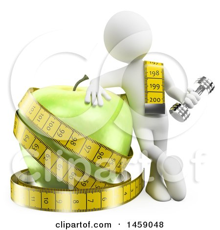 3d White Man with a Dumbbell, Measuring Tape and Giant Apple, on a White Background Posters, Art Prints