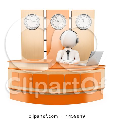 Clipart of a 3d White Man Receptionist Working at a Desk, on a White Background - Royalty Free Illustration by Texelart