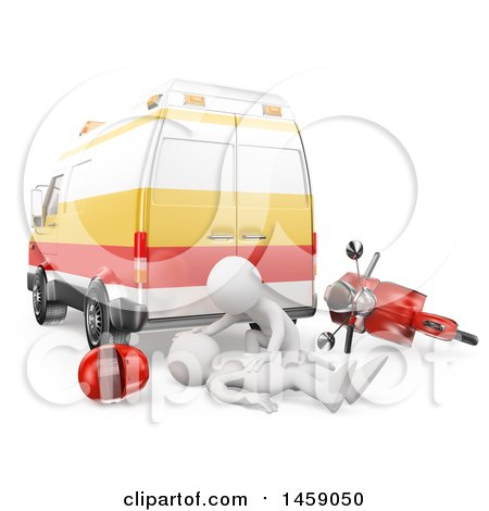 Clipart of a 3d White Man Emt Helping a Motorcyclist After an Accident, on a White Background - Royalty Free Illustration by Texelart