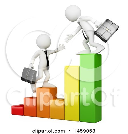 Clipart of 3d White Business Men Heaping Each Other Climb a Bar Graph, on a White Background - Royalty Free Illustration by Texelart