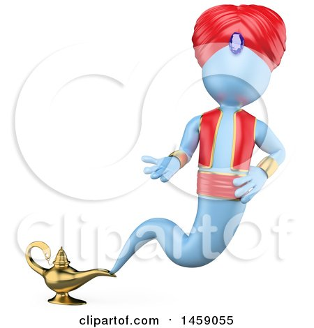 Clipart of a 3d Genie Emerging from a Lamp, on a White Background - Royalty Free Illustration by Texelart