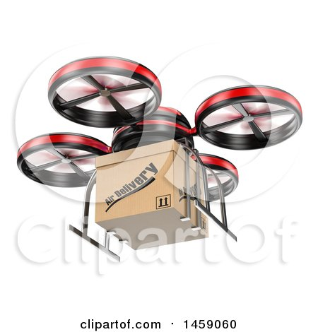 Clipart of a 3d Delivery Drone, on a White Background - Royalty Free Illustration by Texelart