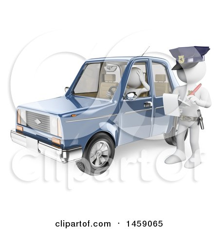Clipart of a 3d White Man Getting a Traffic Ticket, on a White Background - Royalty Free Illustration by Texelart
