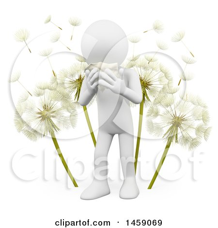 Clipart of a 3d White Man Sneezing by Dandelions, on a White Background - Royalty Free Illustration by Texelart