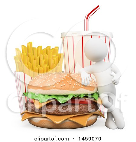 Clipart of a 3d White Man with a Cheeseburger French Fries and Soda, on a White Background - Royalty Free Illustration by Texelart