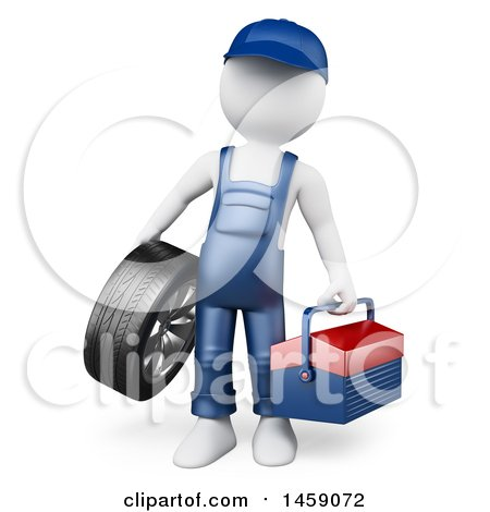 Clipart of a 3d White Man Mechanic with a Tool Box and Tire, on a White Background - Royalty Free Illustration by Texelart