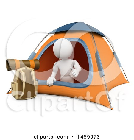 Clipart of a 3d White Man Camping, on a White Background - Royalty Free Illustration by Texelart