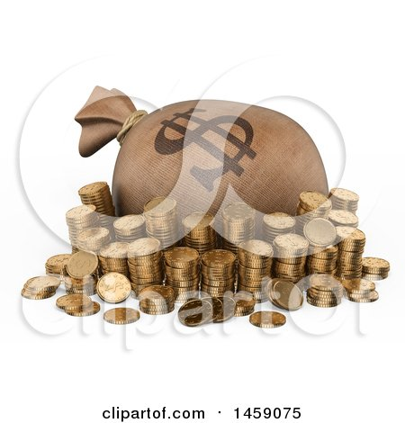 Clipart of a 3d Money Bag and Stacked Coins, on a White Background - Royalty Free Illustration by Texelart