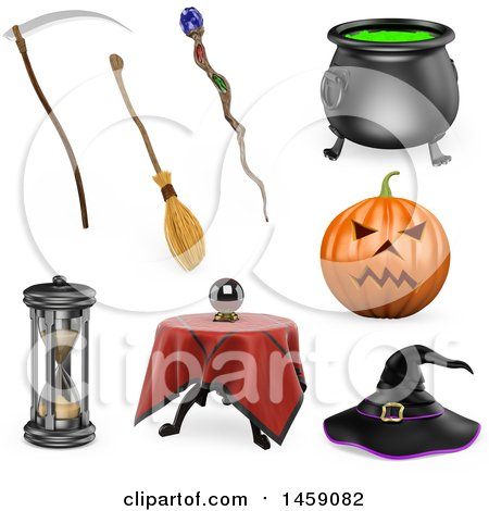 3d Halloween Items, on a White Background Posters, Art Prints