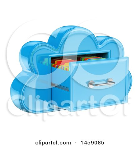 Clipart of a 3d Cloud Shaped Filing Cabinet, on a White Background - Royalty Free Illustration by Texelart
