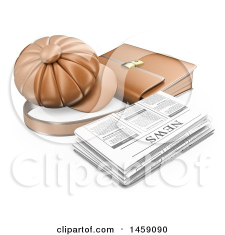 Clipart of a 3d Newspaper with a Hat and Briefcase, on a White Background - Royalty Free Illustration by Texelart