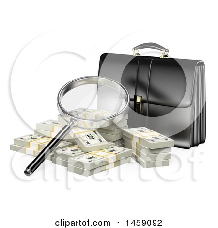 Clipart of a 3d Briefcase with a Magnifying Glass and Cash, on a White Background - Royalty Free Illustration by Texelart
