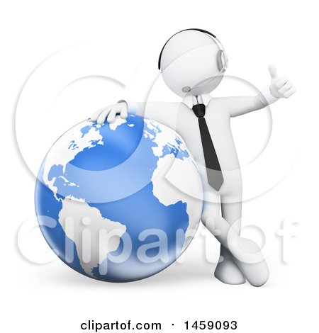 Clipart of a 3d White Business Man Wearing a Headset, Giving a Thumb up and Leaning on a Globe, on a White Background - Royalty Free Illustration by Texelart