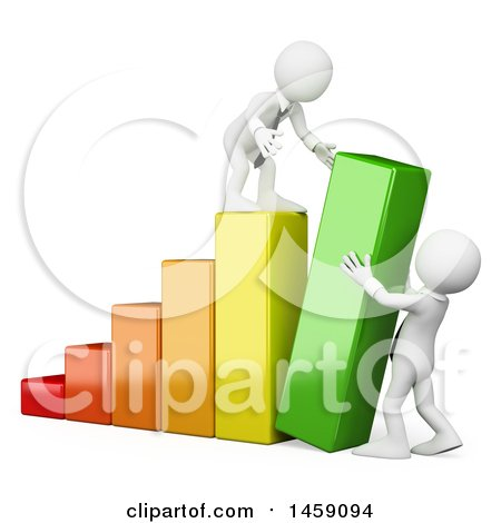 Clipart of 3d White Business Men Pushing up a Bar on a Graph, on a White Background - Royalty Free Illustration by Texelart
