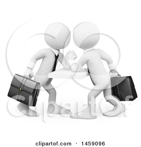 Clipart of 3d White Business Men Engaged in an Arm Wrestling Match, on a White Background - Royalty Free Illustration by Texelart