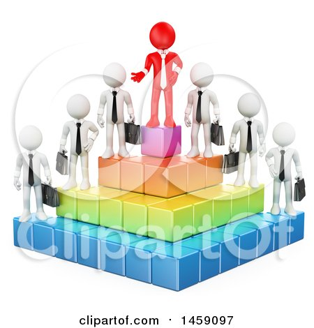 Clipart of a 3d Red Business Man on Top of a Pyramid with Employees, on a White Background - Royalty Free Illustration by Texelart