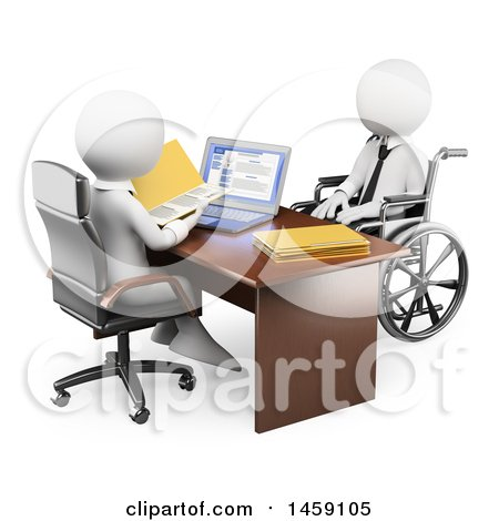 Clipart of a 3d White Handicap Business Man at a Job Interview, on a White Background - Royalty Free Illustration by Texelart